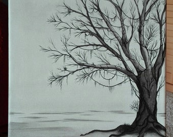 contemporary painting of a tree in winter