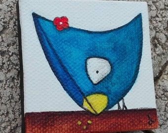 Magnet, mini painting of a blue riglolte chicken
