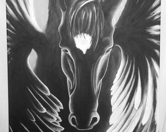 Black winged horse, contemporary painting
