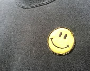 90s szM Smiley face joe boxer black sweatshirt, embroidered patch. Have a nice day Baggy loose Simple minimal vintage normcore pullover top