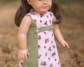 """Strawberry Fields A-line Dress Pink & Green, fits 18"""" Dolls like American Girl, with Matching Headband"""