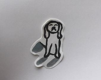 Sad Dog Sticker - Handmade Paper Dog Art Illustration Sticker