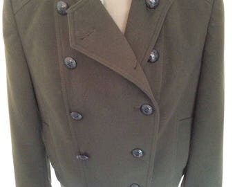 Military jacket marching band sgt pepper Olive green  steampunk festival hipster work wear bohemian  boho  size 16