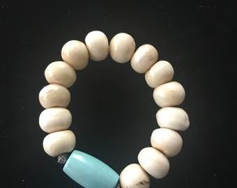 8 inch Elastic Bone and Larimar Bracelet