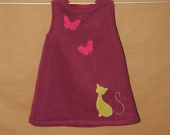 So cat - dress girl 2 years old, in raspberry fleece, cotton lined