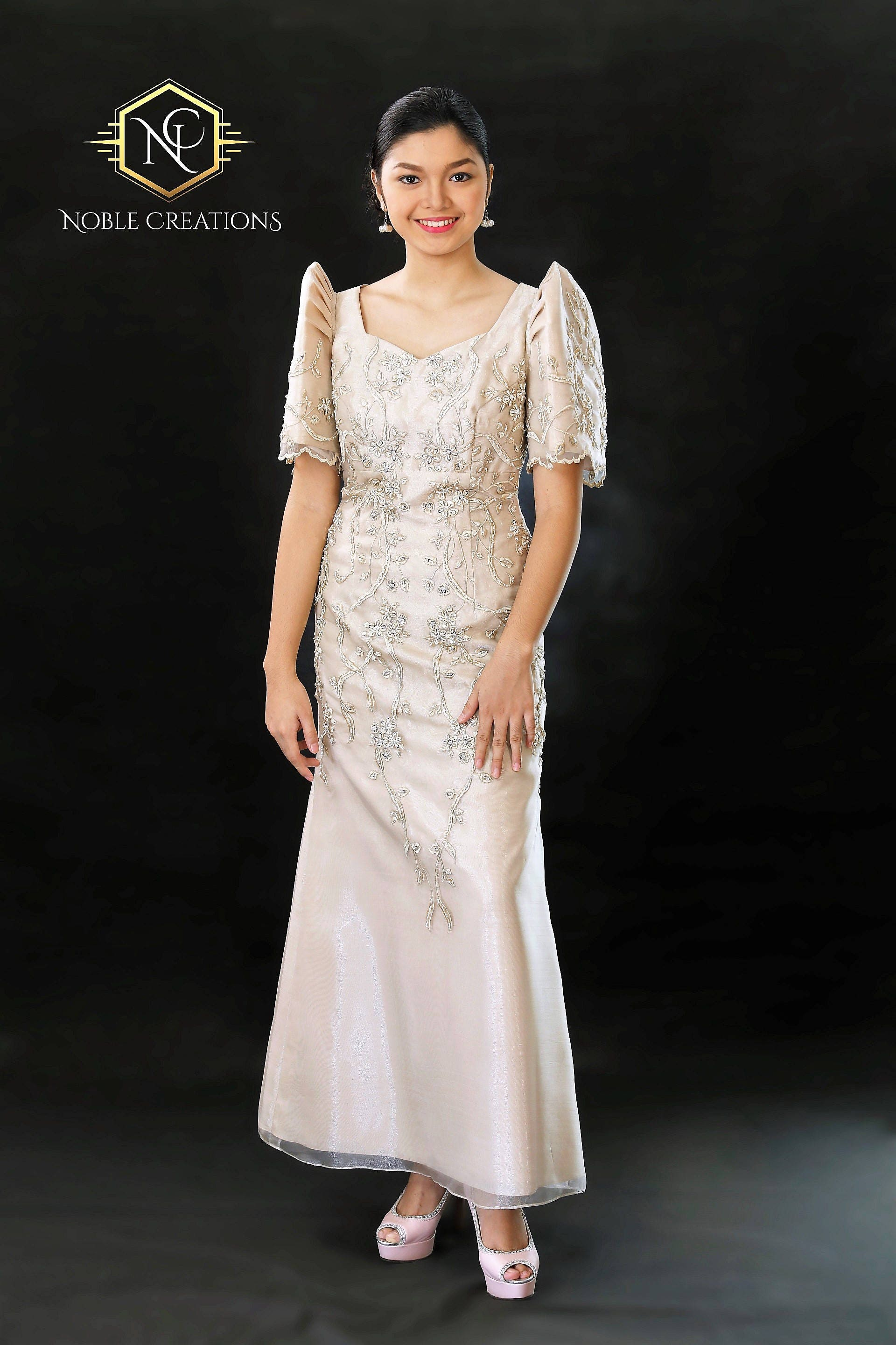 Filipiniana Dress Embroidered And Beaded Mestiza Maria