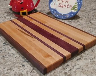 Hard Maple, Walnut and Purpleheart Hardwood Cutting Board