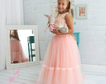 Special occasion dress for kids, Tulle dress, long dress for kids, flower girl dress