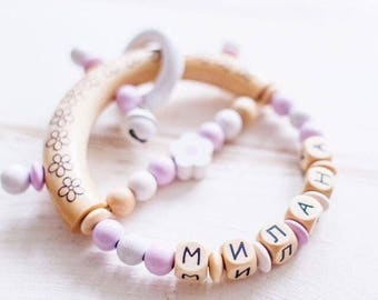 """Personalized rattle with name of """"Eco-collection"""",natural maple/beech wood, 100% non-toxic, best Gifts for newborn babies, latin alphabet"""