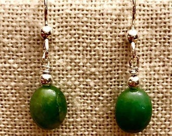 Sterling Silver/Genuine Emerald Bead Earrings