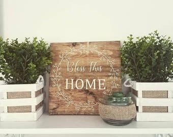 Farmhouse Sign-Bless This Home-Wreath-Fixer Upper-Espresso Stained Wood-Beige-Vinyl Letters.