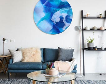 Abstract Painting, Art Print, Giclee, Blue Artwork, Modern Art, Abstract Art, Round Art, Circle Print, Resin Art