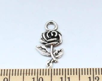 10 Flower Rose Charms - Flower Rose Pendant - Tibetan Silver DIY Flower Rose Charms - EF00041