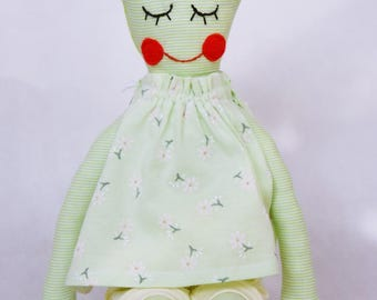 Handmade doll Soft doll Fabric doll GREEN for girl child baby
