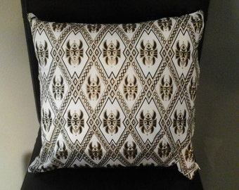 African Mask Decorative Pillow Black and Gold