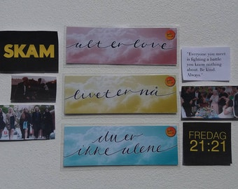 SKAM Bookmarks // Set Of 3 // alt er love, livet er na, du er ikke alene // Gift For Book Lovers