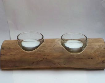 Driftwood tea light or candle holder