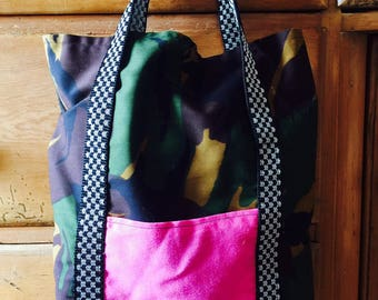 Army Print Bag with Check Detail