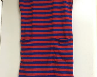 Vintage 80's striped dress, with pockets.