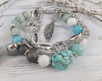 Bracelet from  Turquoise, amazonite, aquamarine, agate Bracelet, for girl, Charm bracelet
