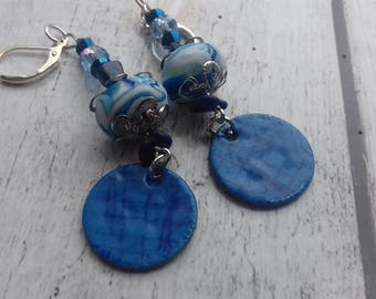 Igraine, enamel earrings and indigo blue bronze