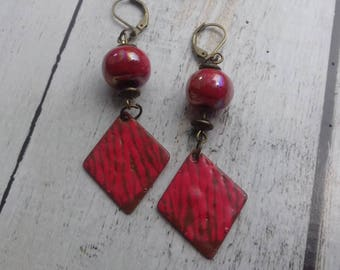 Ouarzazate, enameled copper earrings red and Brown