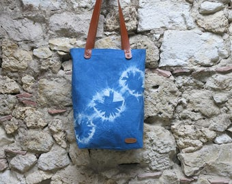 Indigo shibori hand dyed bags