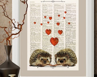 Porcupine in love, illustration, upcycled, dictionary, art print, printed on a vintage dictionary page 1950 #P01