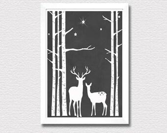 Printable wall art print,Christmas Star,reindeers,birch trees,chalkboard print,winter print,Christmas print,instant digital download art