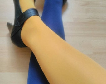two-tone Navy and mustard tights size 38