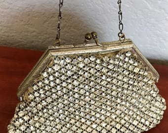 Antique rhinestone purse, Vintage evening purse, 1920s rhinestone bag, Small evening bag, Art deco purse, Rhinestone handbag, Mothers Day
