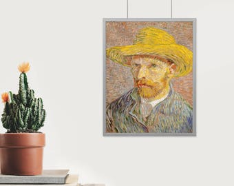 Self-Portrait with a Straw Hat - High Quality print made with Gloss Photo Paper - Vincent van Gogh - 1889 - The Potato Peeler