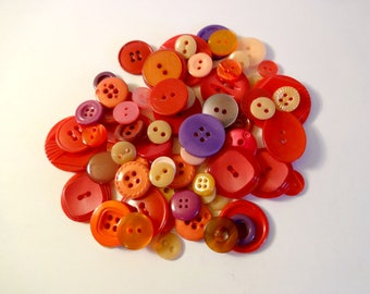 Lot 60 red buttons - used - red - Pink - Purple - sewing - scrapbooking