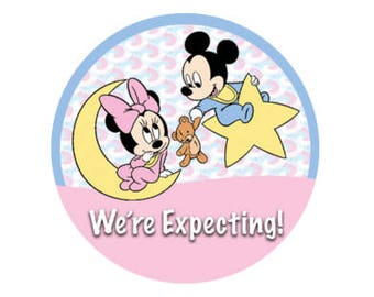 We're Expecting! Mickey Mouse and Minnie Mouse Baby Button - Minnie Button - Mickey Button - Pregnancy Announcement Button - Disney Park Pin