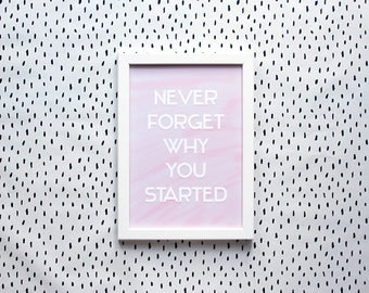 Never Forget Why You Started - A4 Print