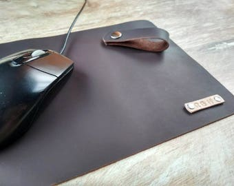 """leather mouse pad 10""""х7"""", Mouse pad, Monogrammed mousepad, leather mouse pad, Leather desk pad, office gift,Personalized leather mouse pad"""