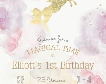 Unicorn Birthday Invitation