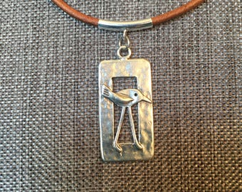 Brown Leather Cord, Sterling Silver, Crane, Necklace