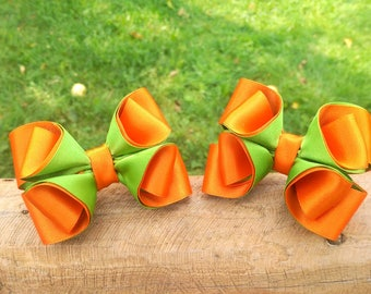 Orange Green Girl Bow Little Girl baby Bow Toddler Girls Ribbon Hairbow Lot Baby Hair Holder Over Top Pigtail Set Of Bow Boutique Teen