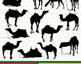 Dromedaries silhouettes sale, eps, svg, png and jpg files high resolution CL-SP-009