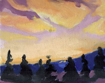 Sunset Sky 5x7 Original Oil Painting