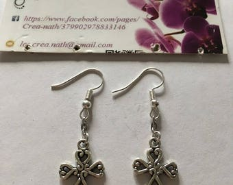 earring type cross adorned with silver heart