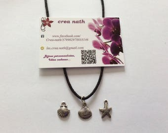 Black cord and Seashell and starfish charm necklace