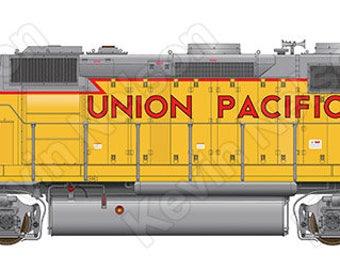 Digital Art Print - EMD GP40 Locomotive - Union Pacific 1342
