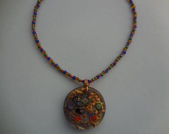 murano red and gold disc