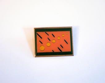 Vintage Pin Brooch Geometric Abstract Design Julian Art Deco Green Silver Peach Mod 80s 90s statement