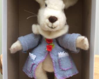 Cream felted rabbit