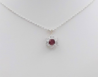 Sterling Silver Ruby & Zircon Pendant