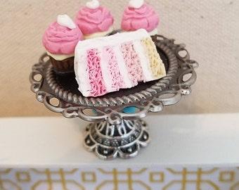 Miniature Cake Stand, Dollhouse Miniature Dessert Tray, Miniature Dessert Platter, Miniature Cake and Cupcakes, Miniature Food