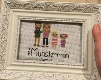 Custom 4 Figure Cross Stitch